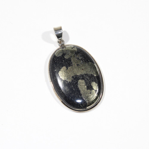 Pyrite and Sterling Silver Pendant 54x30mm