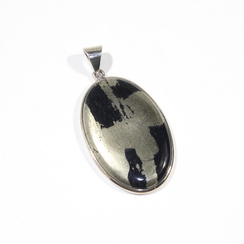 Pyrite and Sterling Silver Pendant 58x29mm
