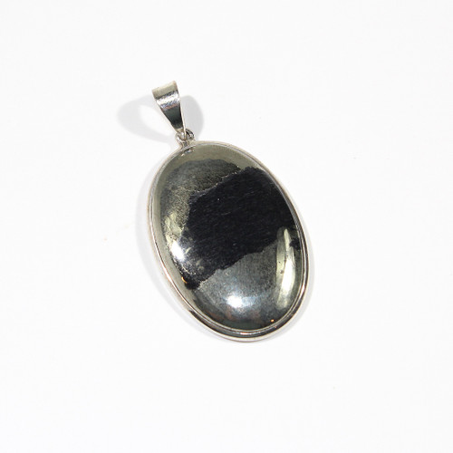 Pyrite and Sterling Silver Pendant 53x28mm
