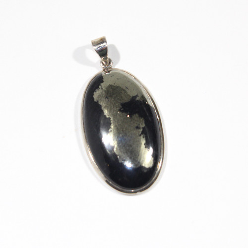 Pyrite and Sterling Silver Pendant 55x26mm