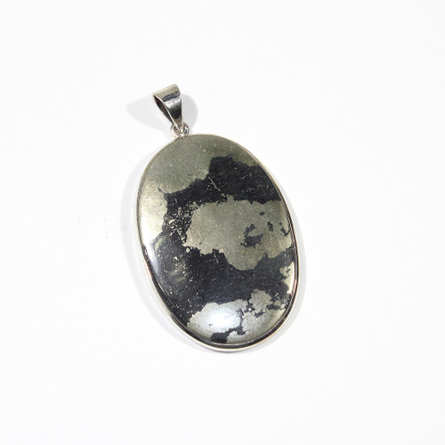 Pyrite and Sterling Silver Pendant 62x35mm