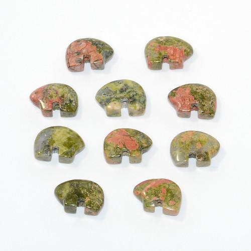 Unakite Mini Zuni Bear Bead 8x12mm