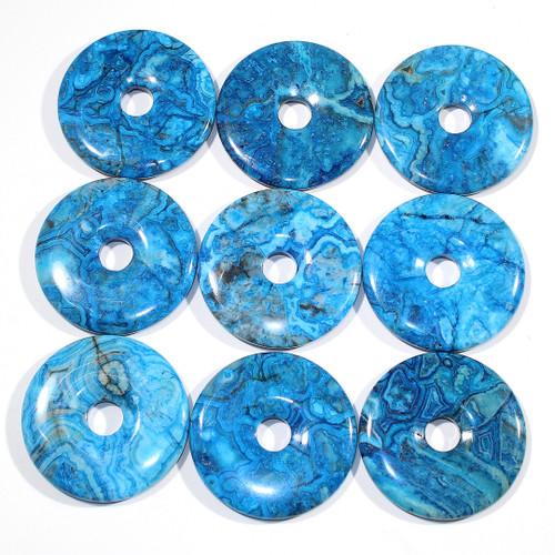 Blue Crazy Lace Agate  50mm Semi-Precious Donuts