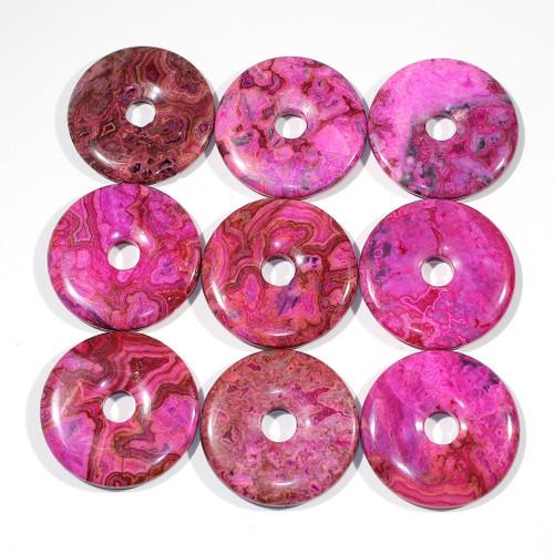 Pink Crazy Lace Agate  50mm Semi-Precious Donuts