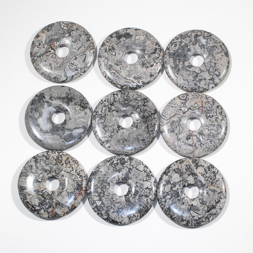 Silver Crazy Lace Agate 50mm Donut