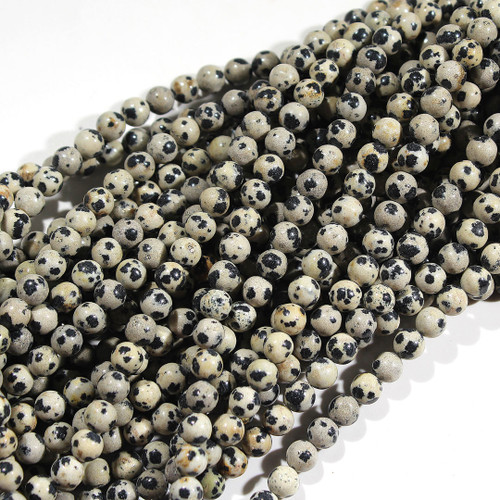 Dalmation Jasper Round Beads 8mm | $3.15 Wholesale