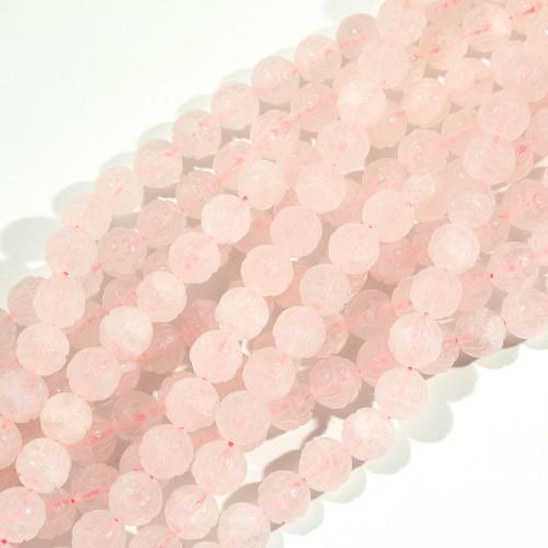 12mm Rose Quartz Lotus Beads