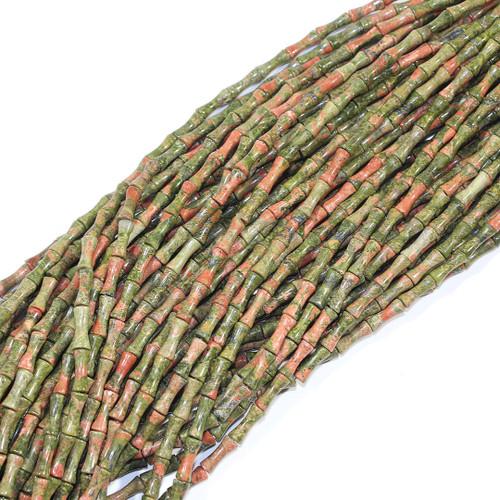 Unakite Bamboo Beads