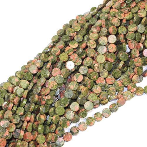 Unakite Coin Beads 10mm