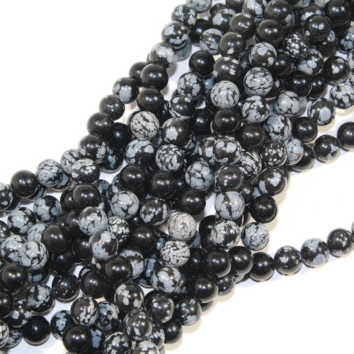 8mm Snowflake Obsidian Rounds