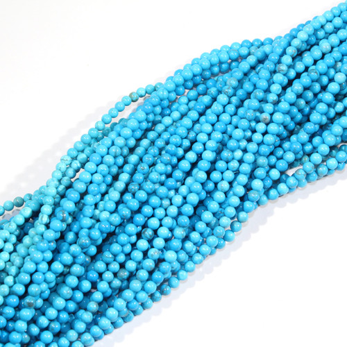 4mm Turquoise Dyed Howlite Rounds