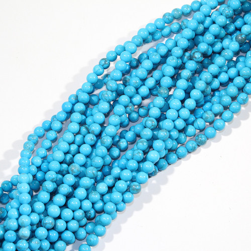 6mm Turquoise Dyed Howlite Rounds
