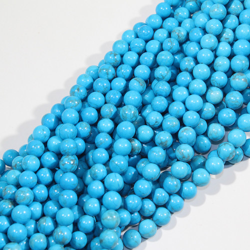 8mm Turquoise Dyed Howlite Rounds