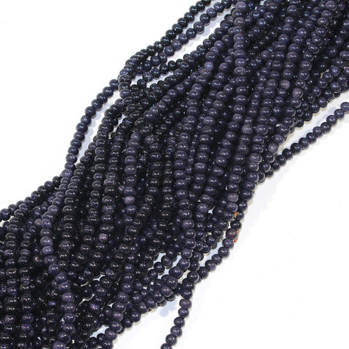 4mm Blue Goldstone Rondelles