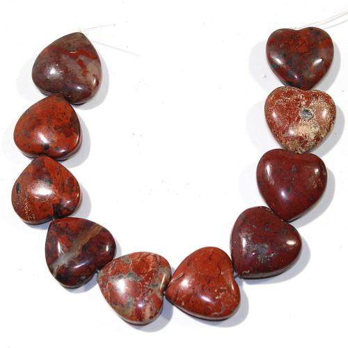 Red Brecciated Jasper Heart Beads