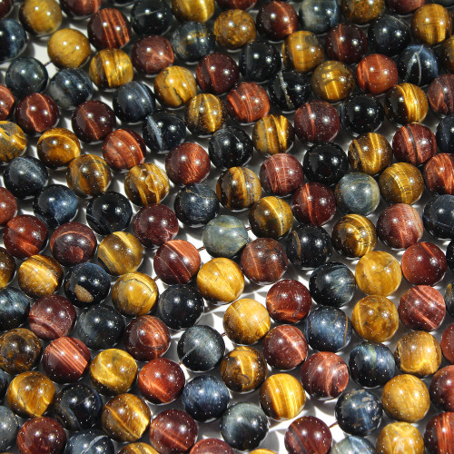 Tri-Color Tigers Eye 12MM | Red, Gold, Blue