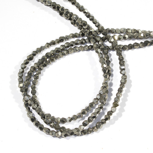 4mm Pyrite Faceted Nuggets