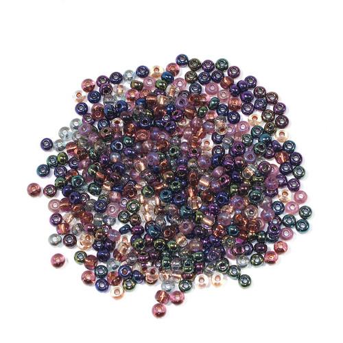 #6 Seed Bead Metallic Assorted Iridescent  Half Kilo Bag