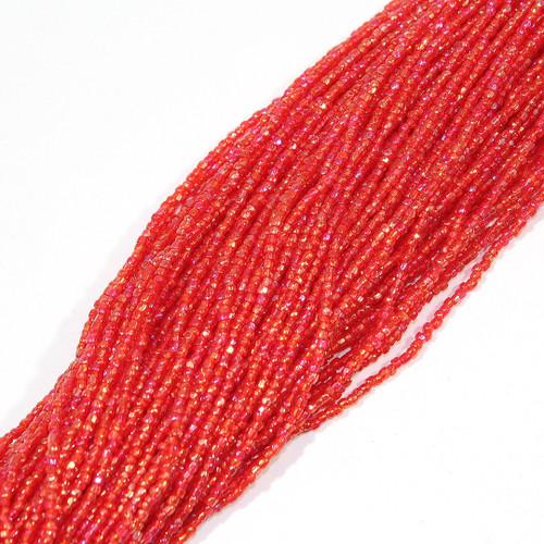 #12 Seed Bead Red Transparent Iris | 1 Hank