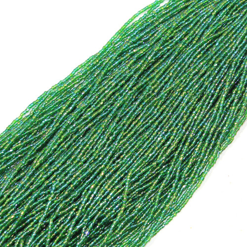 #12 Seed Bead Emerald Transparent Iris | 1 Hank