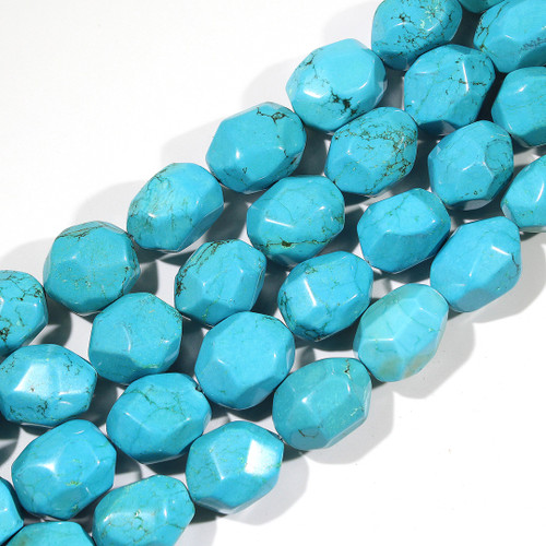 Dyed Magnesite Faceted Nuggets 27x20mm