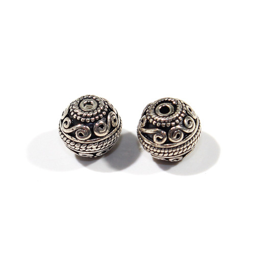 India Silver 9mm Round Spacer Bead | 2ct Bag