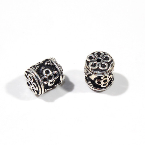 India Silver 10mm Barrel Bead | 2ct Bag