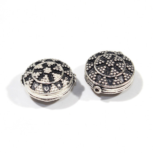 India Silver Dotted Coin Bead 14m | 2ct Bags