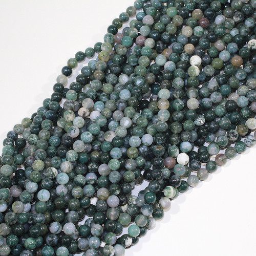 8mm Moss Agate Rounds