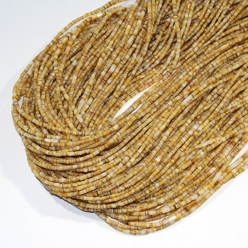 Gold Lip Mother Of Pearl 2-3mm heishi | $3.20 Wholesale