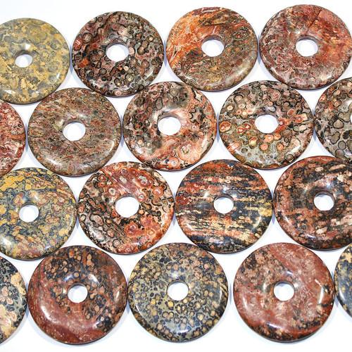 Red Leopard Skin Jasper 50 mm Semi-Precious Donuts