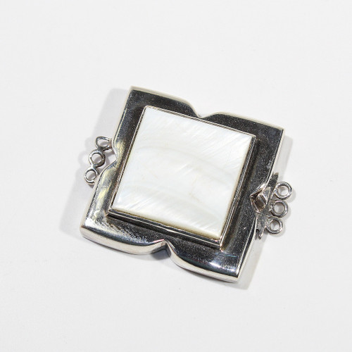 32mm Sterling Silver and Mother of Pearl Box Clasp | Triple Strand