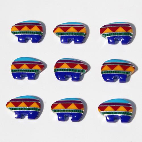 Mosaic Zuni Style Bear beads 18 x13 mm | $3 Wholesale