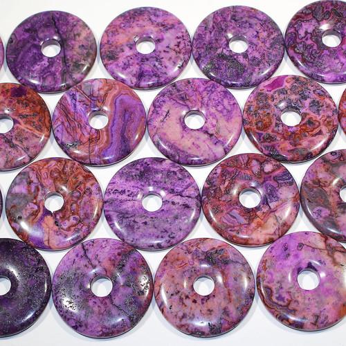 Purple Crazy Lace Agate  50 mm Semi-Precious Donuts