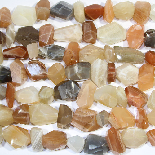 Moonstone faceted nugget natural beads