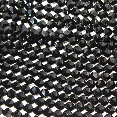 Black Agate Faceted Rounds