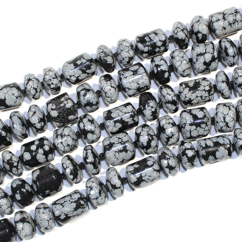 Snowflake Obsidian | Barrel Rondelles 15mm | Wholesale $ 18