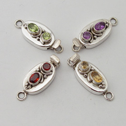 India Silver, Faceted 2 Stone Box Clasp 9 mm x 28 mm