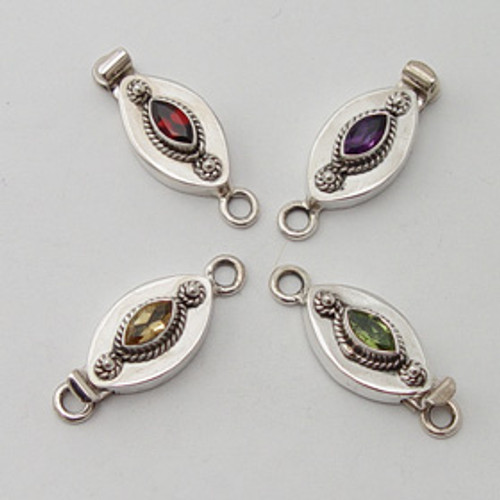 India Silver, Marquise Stone Box Clasp 9 mm x 28 mm