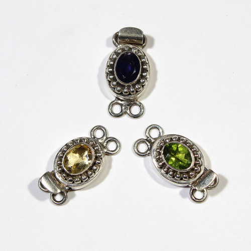 India Silver, Faceted Oval Gemstone 2 Str Clasp