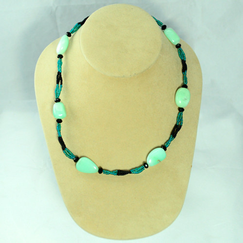 Princess Necklace   Australian Jade, Czech Glass and Silver   18.5 Inches