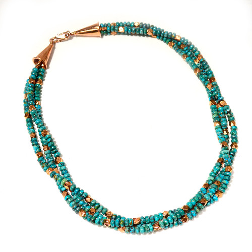 Matinee Necklace   Composite Turquoise and Copper   23.5 Inches