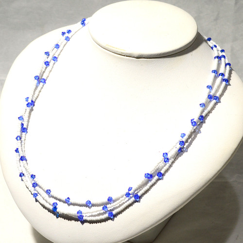 Princess Necklace   Swarovski Crystal, Czech Glass and Sterling Silver   19 Inches