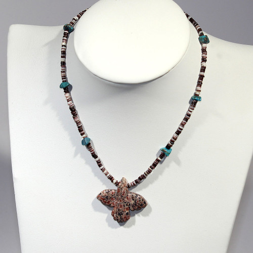 Matinee Necklace   Heishi, Leopardskin Jasper and Sterling Silver   20 Inches