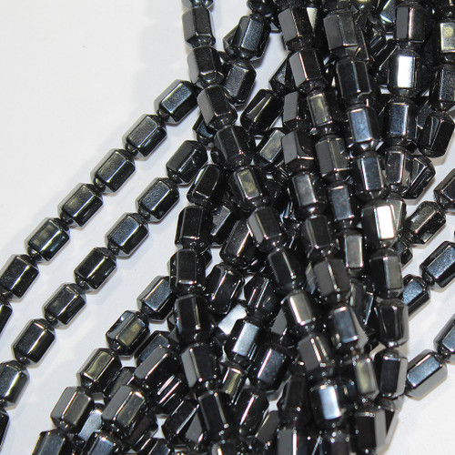 Hematite 18 Facet Beads 6x8