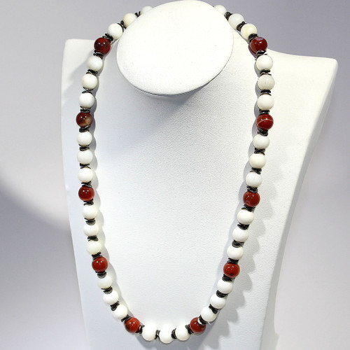 Matinee Necklace | Mother of Pearl, Carnelian and Silver | 21.5 Inches