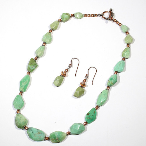 Princess Necklace/Earring Set | Chrysoprase, Czech Glass, Silver and Copper | 19 Inches