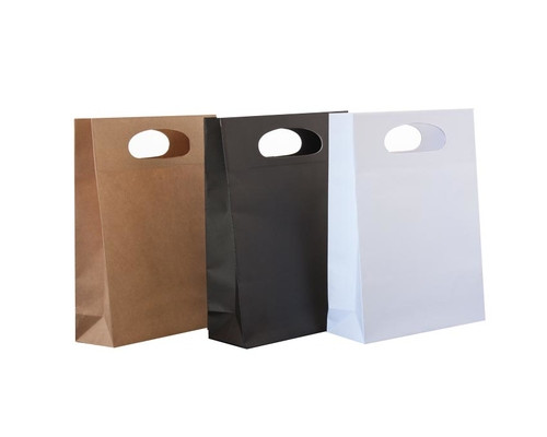 Die Cut Carry Bags (Small Gusset Brown or White) Qty 10