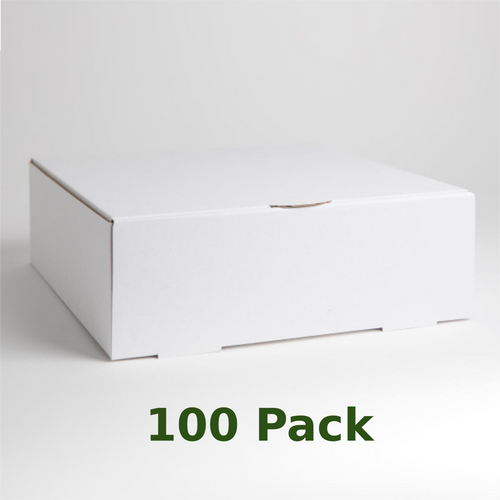 White, corrugated cardboard cake box.