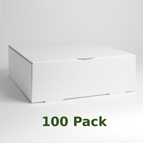 White, corrugated cardboard cake box.